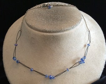 Vintage Hand Made Wired Blue Glass beaded Necklace