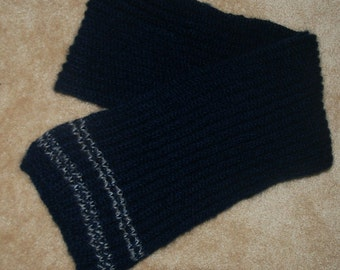 hand-knitted mohair scarf(navy blue)