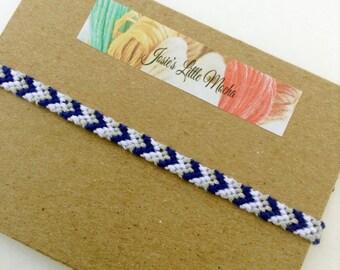 Thin chevron friendship bracelet / V-shape friendship bracelet / Dodgers bracelet / Customizable chevron bracelet