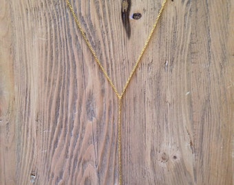 Arrowhead Lariat Necklace, Gold and Black