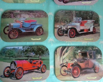 Vintage  set of 6 vintage car place mats.