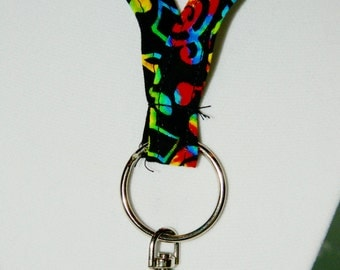 Colorful Musical Notes on Black Lanyard