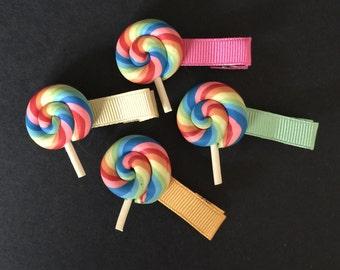 SALE!!,Lollipop Hair Clip,Baby Girl Hair Clip,Toddler Hair Clip,Little Girls Hair Clip,No Slip Hair Clip,Baby Hair Barrette,lollipop,rainbow