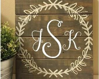 12x14 Custom Monogram Laurel Wreath Wooden Sign with Three Initials