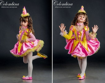 "Girl carnival costume ""Clown"", Funnygirl dress, Funster dress, art. 500"