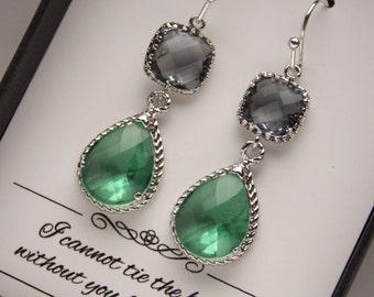 Green Earrings, Bridesmaid Earrings, Gray, Grey, Chrysolite, Seafoam, Aqua Wedding Jewelry, Silver Glass Bridesmaid Jewelry, Bridesmaid Gift