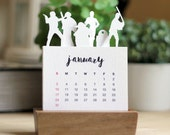 2016 Minimalist Paper Cut Desk Calendar with Solid Wood Stand \ Star Wars Series 2