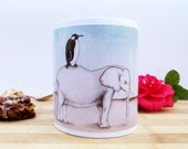 Coffee Mug Penguin On Elephant Illustration // Tea Cup // Unique Ceramic Mug // Pencil Drawing // Unique Coffee Mug // Cute Coffee Mug