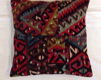 16x16 KILIM PILLOW Cover,Handwoven Throw Pillow,Made out of Kilim Rug