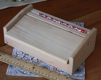 Pencil Box,Wooden Pencil Box,Wood Pencil Box,Child's Pencil Box,Craft Storage Box,Back to School Pencil Box,Color Pencil Case,Marker Box