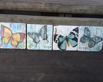 Blue butterfly stone coasters