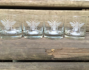 Whiskey Glasses Whiskey Gift Etched Whiskey Glass Scotch Glass Bourbon Glass Rocks Glass Whiskey Lover Set of 4 Bee Buzzed