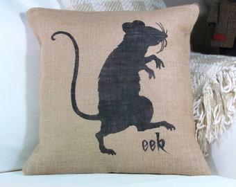 Halloween Pillow, Rat Pillow, Burlap Pillow, Halloween Decor, Fall Decor, Witch Decor