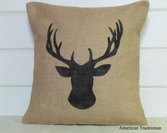 Burlap Pillow- Deer Bust, Woodland Nursery, Lodge Decor, Gifts For Him, Christmas, Animal Silhouettes, Deer Pillow