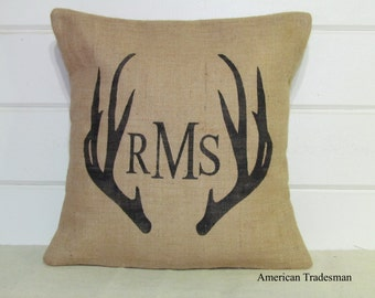 Burlap Pillow- Antlers, Monogrammed, Personalized, Shabby Chic, Lodge Decor, Woodland Nursery, Christmas Gift