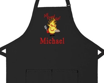 Personalized Apron All Fired Up Adult Bib Apron