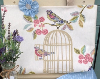 Oilcloth tote bag/handmade tote bag/Handbag/tote bag/oilcloth bag/shoulder bag/fabric bag/bird bag/bird cage bag/bird items