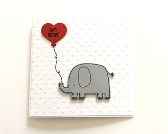 Boyfriend Birthday Card, Girlfriend Birthday, Wife Birthday, Husband Birthday, Cute I Love You Card, Elephant Birthday Card, HB204