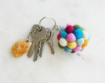 KEY chain felt - Handmade wool, accessories, colorful felt balls, beads, balls