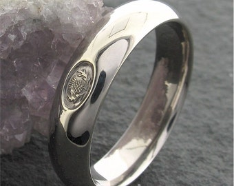 Scottish wedding ring, silver handmade 6mm wide mans band.
