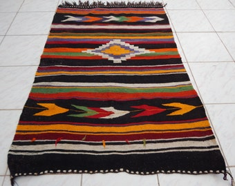 3'4''x4'8''/ 100x141cm Vintage Authentic NAVAJO Rug, Woven Native American Interior Kilim Rug,Textile Weaving,Handcrafted Southwest Wool Rug