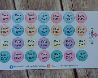 Shabby Polka Dot Pay Day Planner Stickers