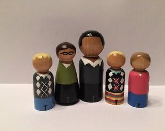 Custom Painted Peg Family
