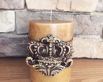Luxury Pillar Candle, Swarovski Crystals on 3D Crown, Home Decor, Brown Single Wick Crown Candle