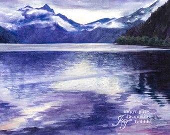 Northwest Watercolor Print - Lake Crescent, Olympic Peninsula, NW Art - Jacqueline Tribble - Giclee print, Northwest Landscape, PNW