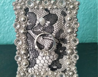 Silver and Crystal Frame Ring Holder