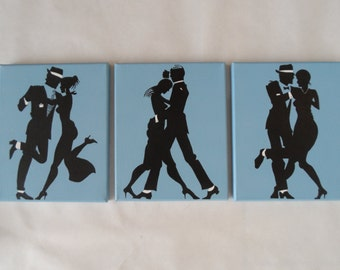 Set of 3 Dancing Couple Swing Jazz Art Nouveau Canvas Paintings / Wall Hangings / Wall Art