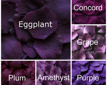 Dark Purple Silk Rose Petals, 300 petals