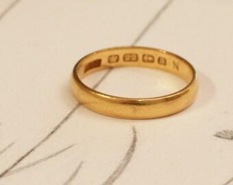 Victorian Vintage Gold Wedding Ring, 22ct Gold 3mm Band, Birmingham 1900