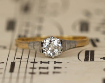 Art Deco Solitaire Old Cut Diamond Engagement Ring, Vintage 0.50 Carat Diamond 18ct Gold & Platinum Shoulders