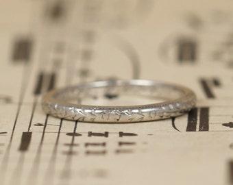 Platinum Orange Blossom 2mm Antique Wedding Band, Vintage Engraved Ring with Inscription and Provenance, Size UK I