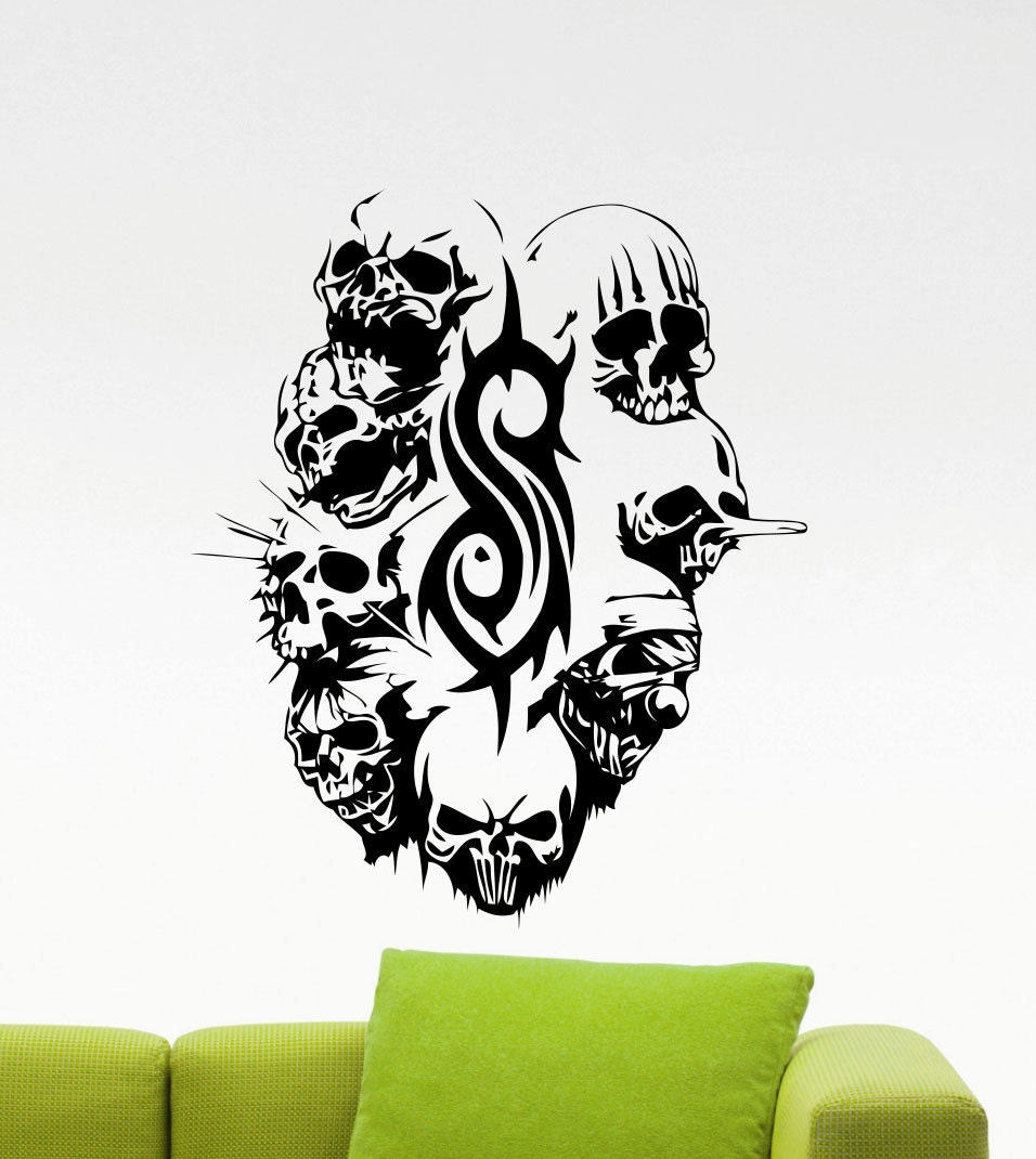 slipknot skulls wall decal logo emblem masks rock metal music zoom