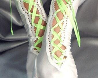 Long Spandex white lace up fingerless gloves neon green satin ribbon