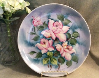 Hand Painted Floral Design Plate, Decorative Plate