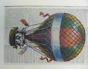 Hot Air Balloon Print No.321, hot air balloon poster, hot air balloon wall decor, hot air balloon print, air ships, dictionary art