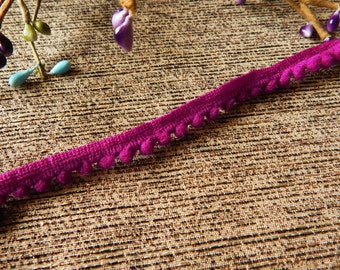 Cerise Pom Pom Trim, Indian Fabric Trim, Purple Pom Pom, Indian Ribbon