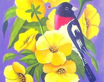 Bird painting Red Breasted Grosbeak  Original Acrylic painting Bird Art by Michael Hutton 9 by 12