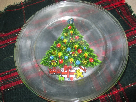 Christmas plates clear glass tree by