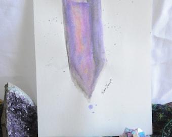Amethyst Crystal Watercolor Sketch