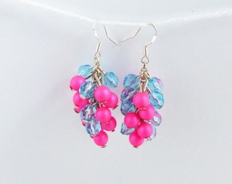 Czech Crystal & Pink Pearl Earrings - Neon Pink Earrings - Hoop Earrings - Pink Pearl Earrings - Czech Crystal Earrings - Crystal Earrings