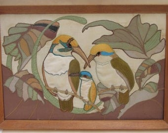 Large Vintage Quilted Embroidered Fabric Kingfishers Picture