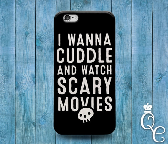 iPhone 4 4s 5 5s 5c SE 6 6s 7 plus iPod Touch 4th 5th 6th Gen Cute Black White Scary Halloween Cute Quote Phone Cover I Wanna Cuddle Case
