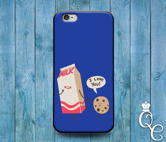 iPhone 4 4s 5 5s 5c SE 6 6s 7 plus iPod Touch 4th 5th 6th Generation Cover Funny Blue Milk Cookie I Love You Cute Fun Food Phone Cover