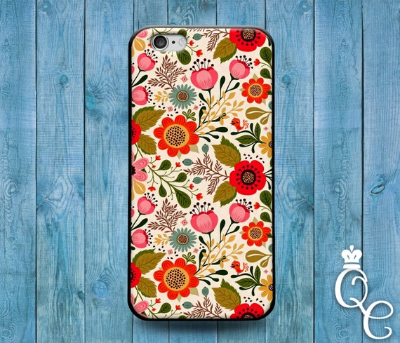 iPhone 4 4s 5 5s 5c SE 6 6s 7 plus iPod Touch 4th 5th 6th Gen Cute Vintage Flower Floral Pink Red Bird Nature Phone Cover Gir Pretty Case