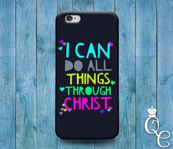 iPhone 4 4s 5 5s 5c SE 6 6s 7 plus iPod Touch 4th 5th 6th Gen Cute Dark Blue Colorful Font Artistic Bible Quote Verse Christ Lord God Case