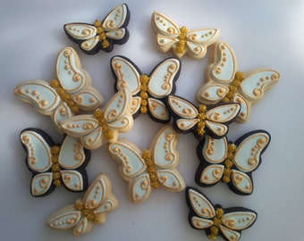 Gilded Butterfly Cookies - One Dozen Decorated Shower / Wedding Cookies